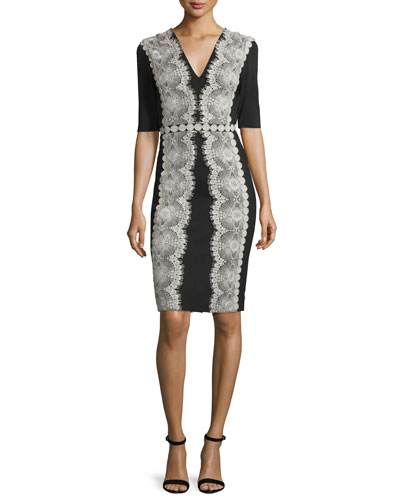 Embroidered Lace Jersey Cocktail Dress, Black/Silver