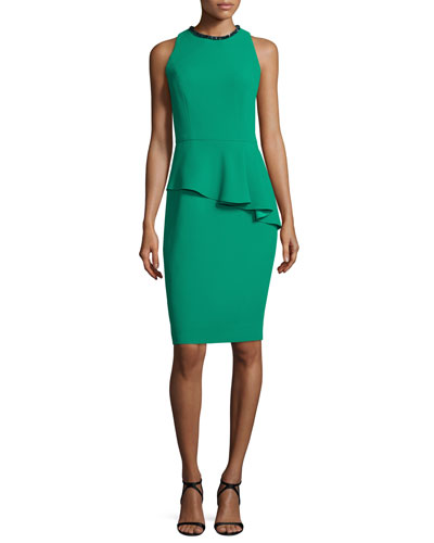 Sleeveless Asymmetric Peplum Sheath Dress, Emerald