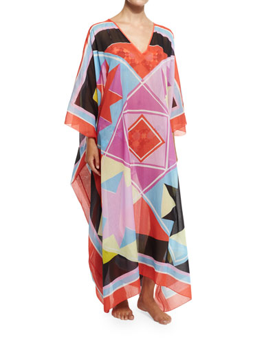 Monreale Printed Voile Caftan Coverup