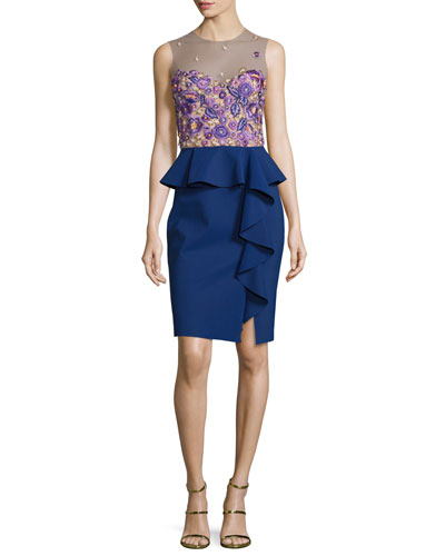 Sleeveless Embroidered Peplum Dress, Navy