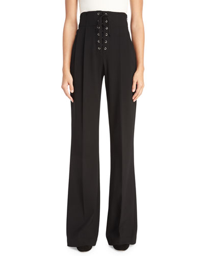 Estrada High-Rise Laced Wide-Leg Pants, Black