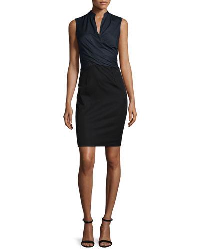 Laken Sleeveless Crossover Dress, Navy Yard