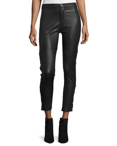 Sabrina Snap-Trim Leather Ankle Pants, Black