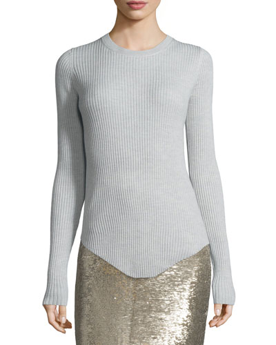 Serena Ribbed Wool Top, Pearl Gray