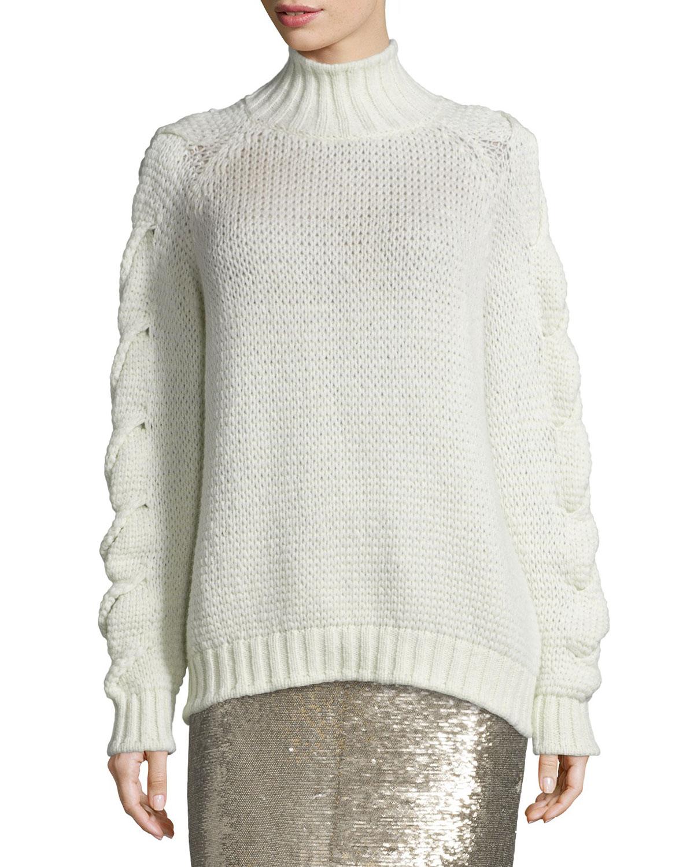 Zane Alpaca-Blend Oversized Sweater, Ecru
