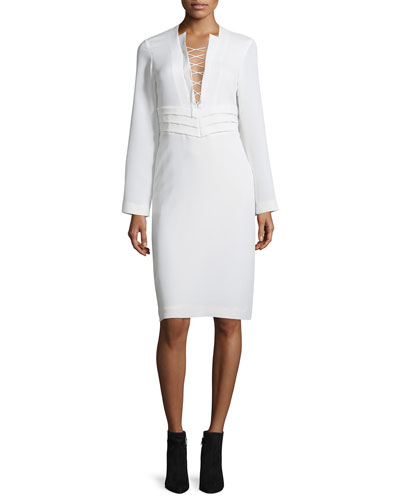 Payda Lace-Front Sheath Dress, Ecru