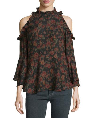 Eloane Floral Silk Cold-Shoulder Blouse, Black/Khaki