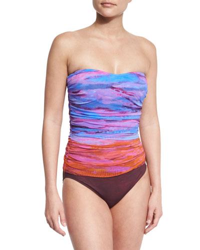 Horizon Printed Bandeau One-Piece Swimsuit