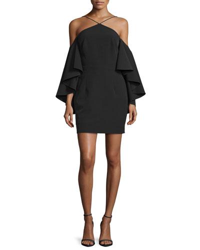 Cold-Shoulder Bell-Sleeve Ponte Dress, Black