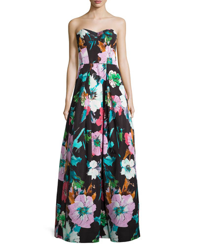 Floral Sweetheart Ball Gown, Black