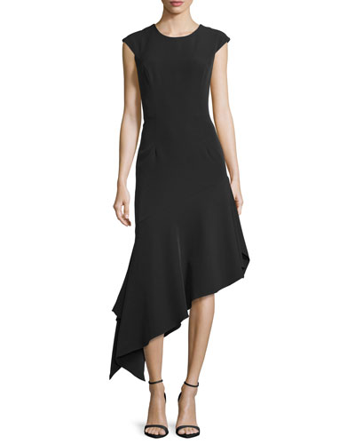 Cap-Sleeve Asymmetric Midi Dress, Black