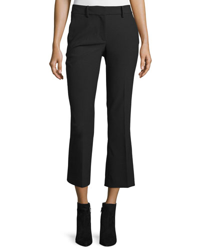 Cropped Flare Wool-Blend Pants, Black