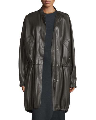 Leather Zip-Front Parka, Dark Canopy