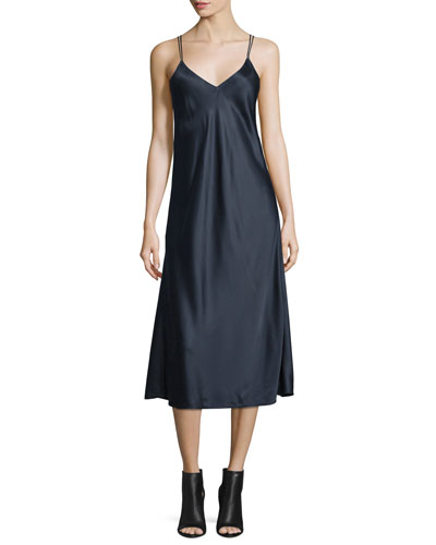 Draped-Back Silk Satin Midi Dress, Navy