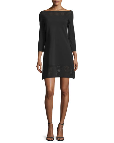 3/4-Sleeve Mesh-Trim Ponte Cocktail Dress, Nero