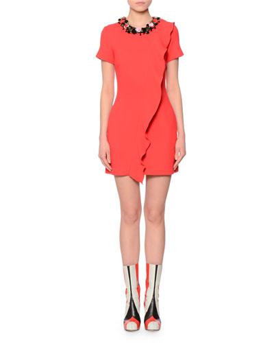 Short-Sleeve Floral-Trim Wool Dress, Red