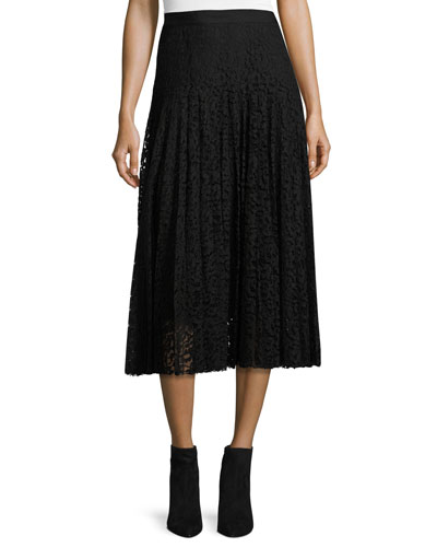 Pleated Lace Midi Skirt, Black