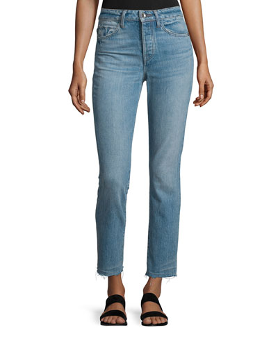 High-Rise Cropped Denim Jeans, Light Blue