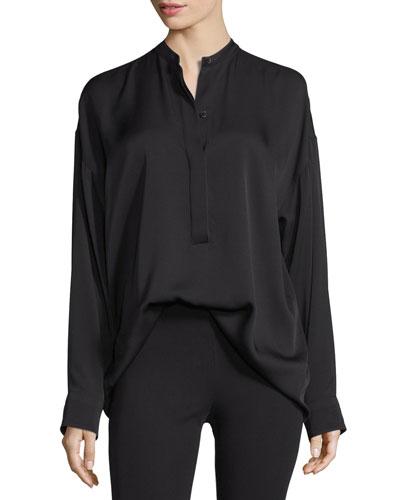 Tie-Back Stretch Silk Top, Black