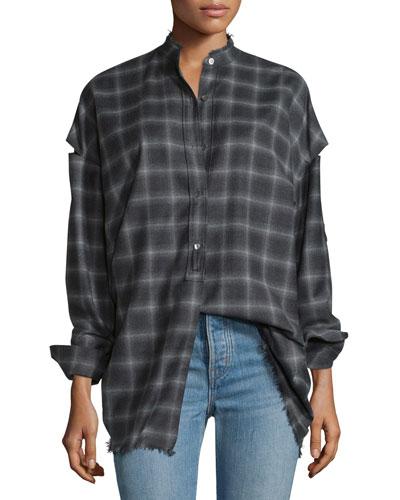 Tabbed-Sleeve Plaid Open-Back Shirt, Charcoal Melange