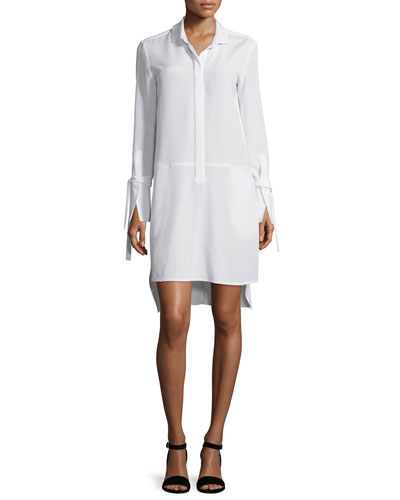 Long-Sleeve High-Low Stretch-Faille Shirtdress, Chalk