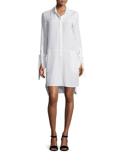 Long-Sleeve High-Low Stretch-Faille Shirtdress, Chalk