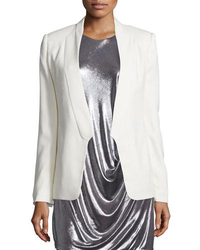 Long Slim Tuxedo Jacket w/ Satin Lapel, Chalk