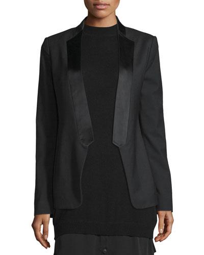Long Slim Tuxedo Jacket w/ Satin Lapel, Black