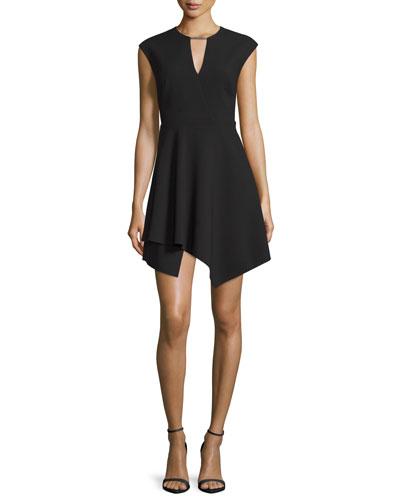 Cap-Sleeve Handkerchief-Hem Mini Dress, Black