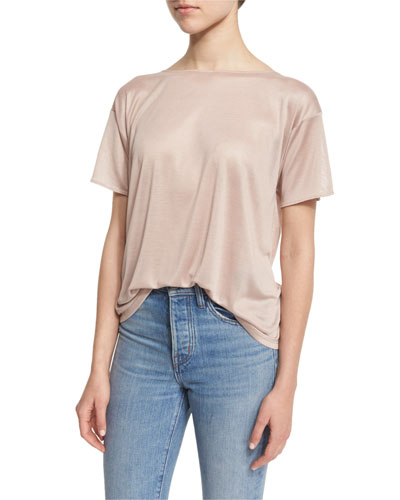 Short-Sleeve Boxy Silk Tee, Dustwind