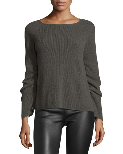 Ribbed Ruched-Sleeve Sweater, Flint