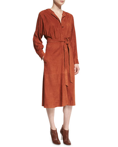 Suede Button-Front Midi Wrap Dress, Burnt Paprika