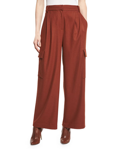 Owen Cropped Twill Wide-Leg Pants, Burnt Paprika