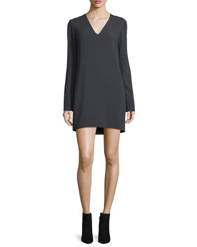 Long-Sleeve Ponte V-Neck Mini Dress, Charcoal