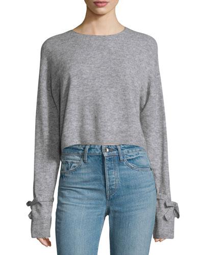 Melange Tie-Cuff Wool-Blend Sweater, Heather Gray