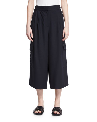 Owen Cropped Twill Wide-Leg Pants, Navy
