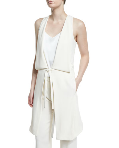 Draped Deep V-Neck Tie-Front Vest, Chalk