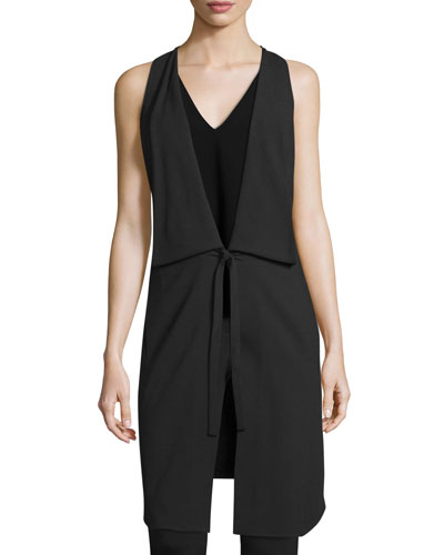 Draped Deep V-Neck Tie-Front Vest, Black