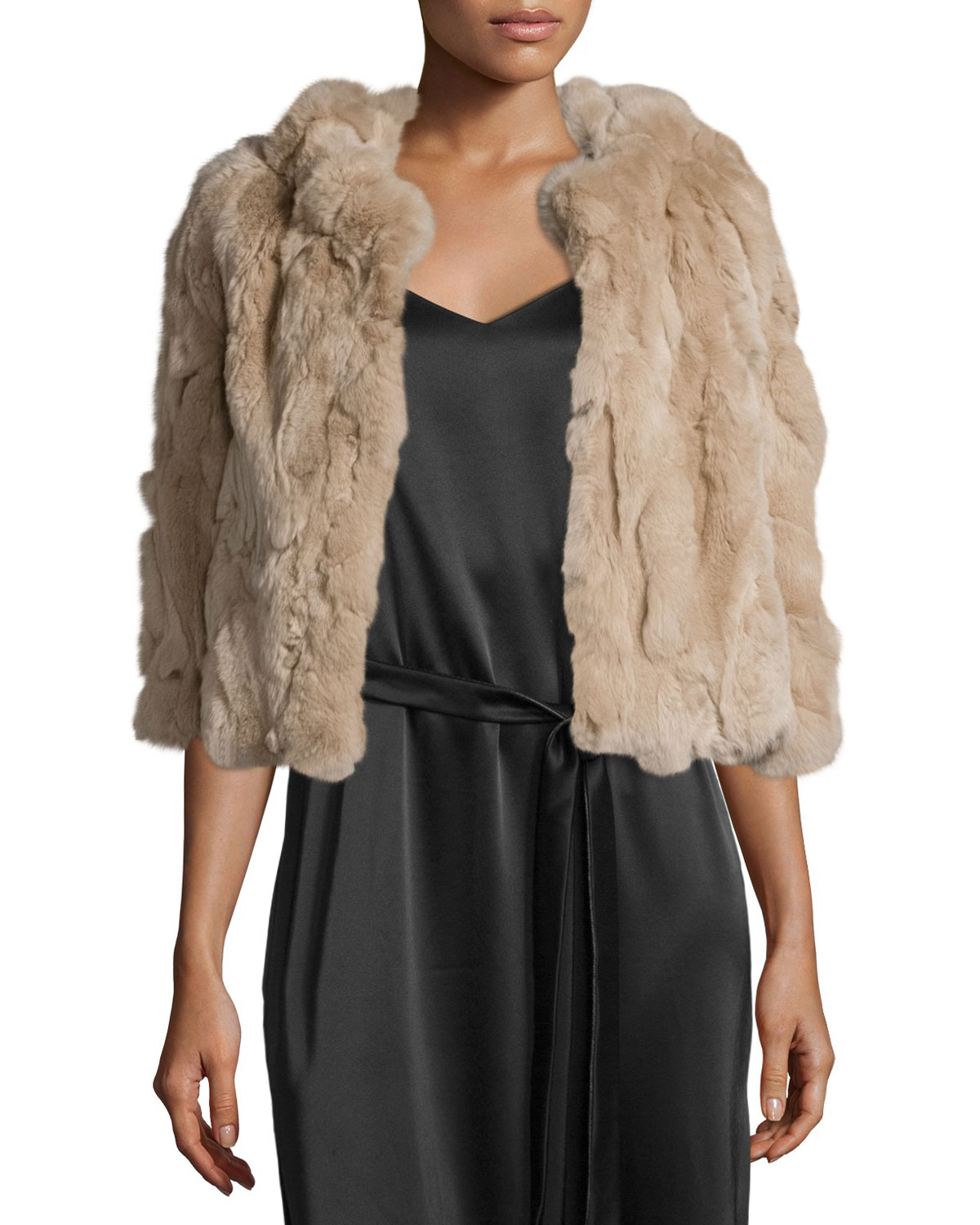 Cropped Rabbit Fur Cape, Champagne