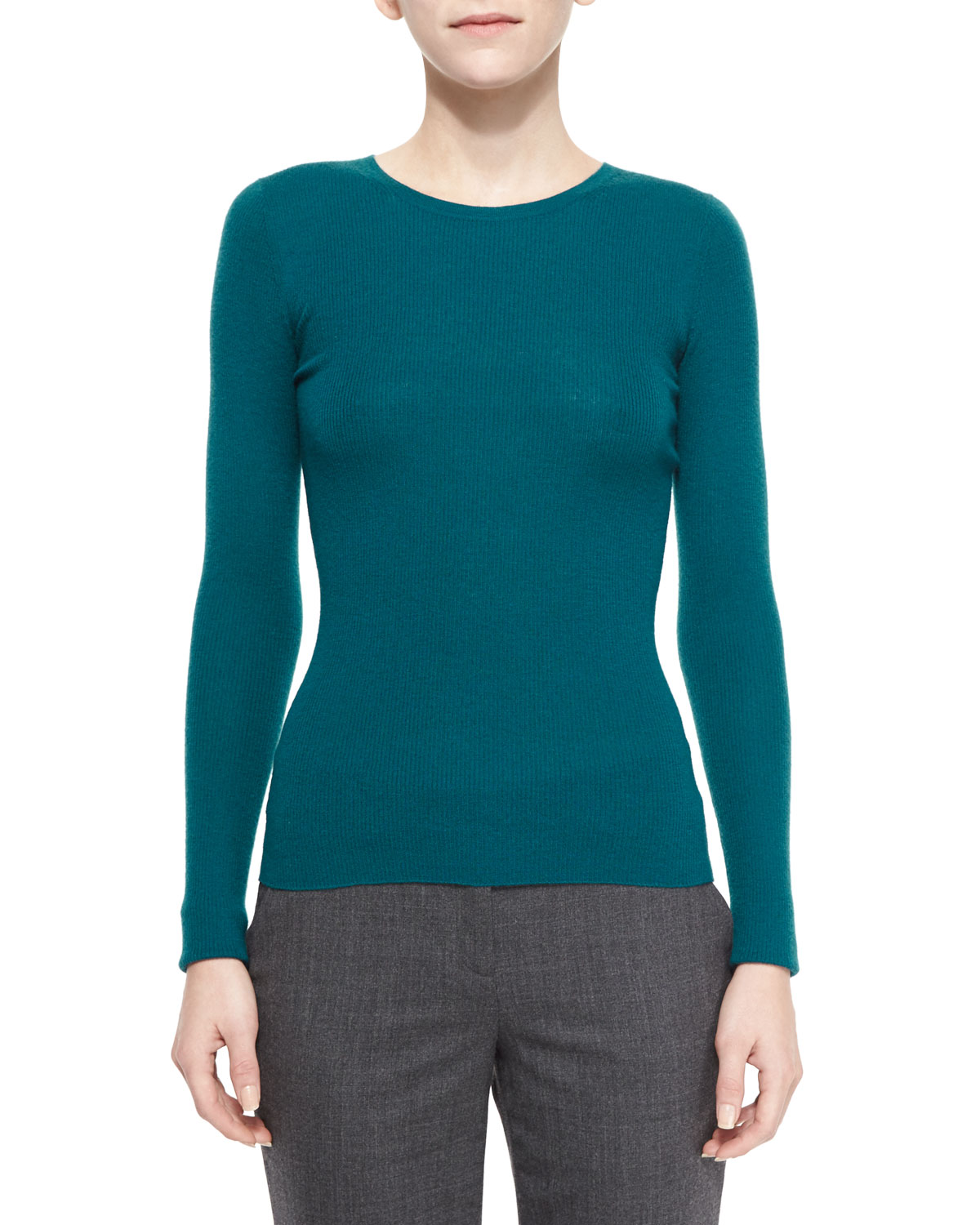 Long-Sleeve Ribbed Cashmere Sweater, Peacock