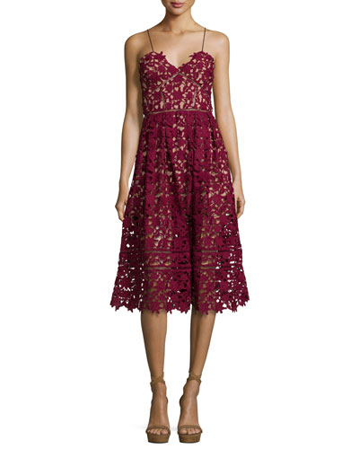 Azaelea Guipure-Lace Illusion Dress, Burgundy