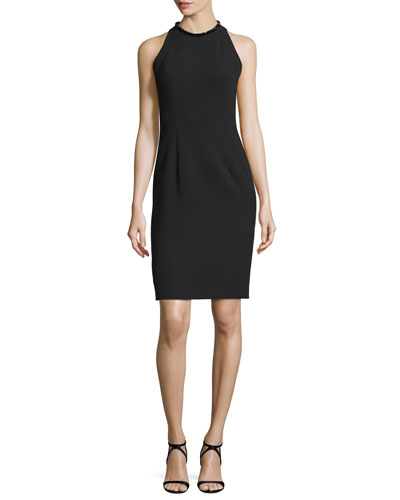 Sleeveless Sheath Dress W/Back Cutouts, Black