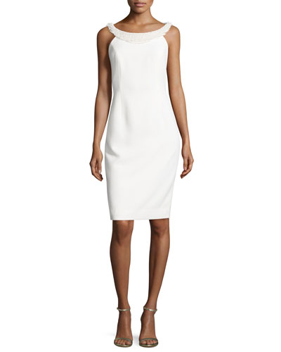 Sleeveless Sheath Dress W/Fringe Trim, Ivory
