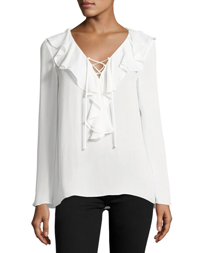 Kenza Ruffled Lace-Up Blouse, Soft White