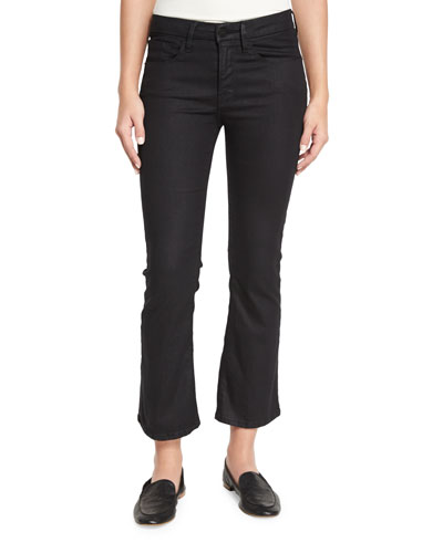 Le Crop Mini Boot-Cut Coated Jeans, Carter