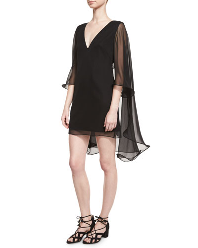 Silk Chiffon V-Neck Cape Dress, Black