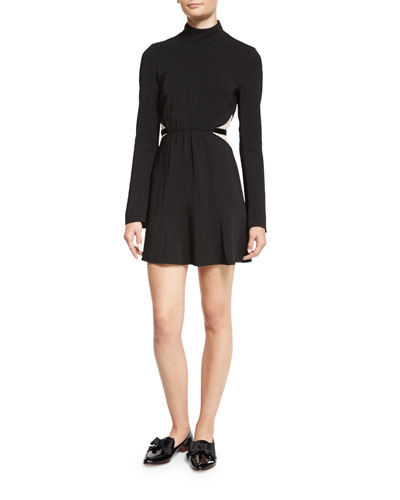 Kristi Bicolor Lace-Inset Turtleneck Dress