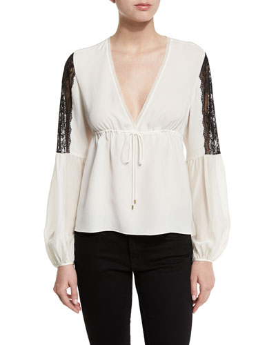 Maeve Contrast-Lace Peasant Top