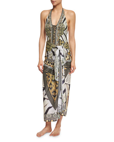 Weave of the Wild Long Printed Sarong Coverup