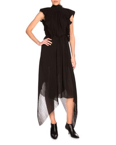 Plissé Chiffon Midi Dress, Black